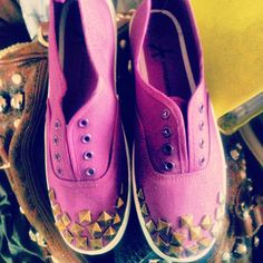 """#DIY Do studs or spikes on your shoes . That provides trendy and """" new """" shoes . Take care that they don't fall off ♡"""