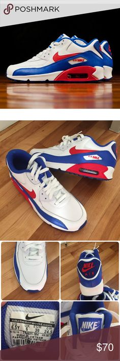 🇺🇸New🇺🇸 NIKE Air Max 90 LTR GS ~ 6.5Y/8.5W brand new no lid size 6.5Y fits women's 8.5 white/university red/racer blue comes from smoke free home guaranteed 100% authentic J1700036 Nike Shoes Sneakers