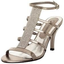 These Pewter Strappy Sandals with Rhinestones are a more comfortable option for your wedding or prom event. These have a low heel .