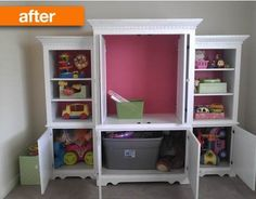 Repurpose a large 3 piece entertainment center! Paint it white with a pop of pink! Use it as a toy storage cabinet in a play room.!