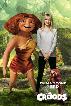 Emma Stone is the voice of Eep, a teenage cave girl, in the upcoming animated film from Dreamworks Animation. Dreamworks Movies, Dreamworks Animation, Cartoon Movies, Animation Film, Disney Movies, Emma Stone, Magic In The Moonlight, Nicolas Cage, Cartoons