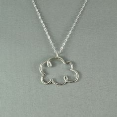 Rain Cloud Necklace, 925 Sterling Silver, Modern, Simple, Delicate, Everyday Wear Necklace