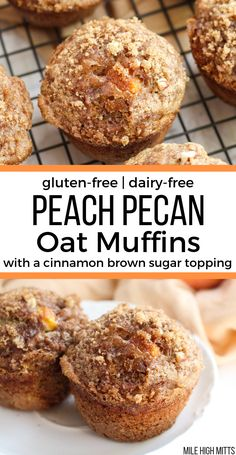 Easy gluten-free, dairy-free Peach Pecan Oat Muffins filled with fresh diced peaches, pecans, brown sugar, cinnamon and nutmeg. This recipe … Sem Gluten Sem Lactose, Sans Gluten, Gluten Free Baking, Gluten Free Desserts, Oat Flour Muffins, Oat Pancakes, Oat Flour Recipes, Peach Bread, Gluten Free Peach