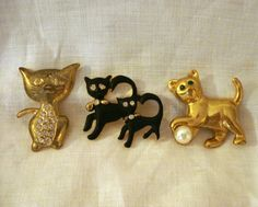 3 Cat pin fronts for crafts and art projects new and vintage cm1265