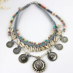 2016 New Tibet Silver Coin Pendants Shell Turquoise Beads Necklace Lady Jewelry #Bib