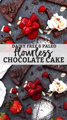 Flourless Chocolate Cake - This cake is gluten free, dairy free & naturally sweetened, but is rich, chocolatey & perfectly dense. Try the raspberry sauce! Flourless Chocolate Torte, Dairy Free Chocolate Cake, Healthy Chocolate, Cake Chocolate, Raspberry Desserts, Chocolate Raspberry Cake, Raspberry Sauce, Vegan Desserts, No Dairy Recipes