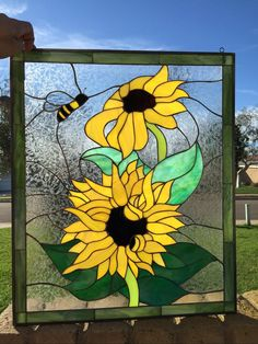 All original Sunflower & Bumble Bee Stained Glass Window is 20 x 26 and hand made inch by inch the traditional way. It can also be custom made to any size specs or colors you may need. Did you know most stained glass panels on the Internet are made in China with a lower quality Chinese made stained glass? You can count on this panel is made with the highest quality stained glass (USA made Spectrum Stained Glass TM) and a very high grade lead/tin mixture we use for binding our panels toge...