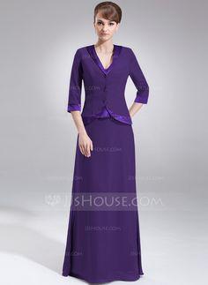 A-Line/Princess V-neck Floor-Length Chiffon Charmeuse Mother of the Bride Dress (008005976)