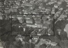 """Zürich-Hottingen. LBS_MH03-1831. User Matthias: """"Es zeigt einen Teil des Zürcher Stadtquartiers Hottingen und zwar den Bereich zwischen Zeltweg (unterer Bildrand) und Freiestrasse (oberer Bildrand), rechts begrenzt durch die Merkurstrasse. Im Zentrum sehen wir das alte Fabrikgebäude im Backsteinbau, welches noch heute steht und in jüngerer Zeit das IAP (Institut für angewandte Psychologie) """""""