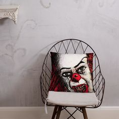 Stephen King's It Evil Clown Pillow Afternoon Nap, Evil Clowns, Pillow Fight, King, Pillows, Room, Furniture, Home Decor, Bedroom