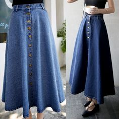 Buttoned A-Line Maxi Denim Skirt