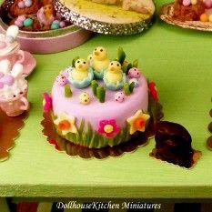 Dollhouse Miniature Easter Themed Cake