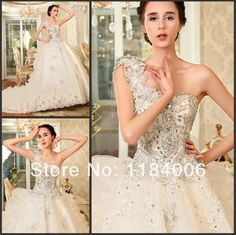 Free Shipping !! 2014 white/ivory Ball Gown one-shoulder wedding dress HK-815 $469.99