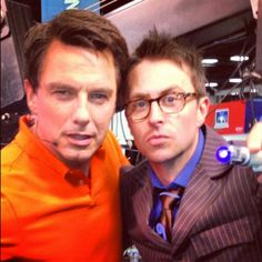 Photo by nerdist • Instagram. John Barrowman and Chris Hardwick as 10th Doctor. So much awesome.
