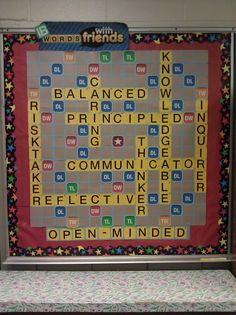 International Baccalaureate Learner Profile Words With Friends bulletin board that I created in my classroom.