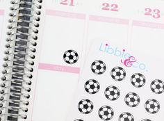 Soccer Ball Life Planner Die-Cut Stickers!!! Set of 108 Perfect for Erin Condren, Limelife, Kikki, Plum Paper or Filofax Planners! SP05