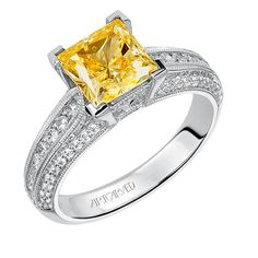 Artcarved Bridal: DEVYN, #31-V538, princess cut prong set diamond engagement ring with diamond intensive band with milgrain detail #ArtCarvedBridal
