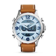 Nate Analog-Digital Tan Leather Watch