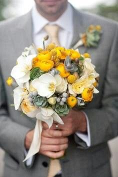 Yellow, cream, sage wedding bouquet.  Her Wedding Planner - Ideas, Dresses, Venues, Services, Pictures & More