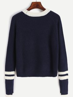 Navy Contrast Neck Striped Trim Sweater