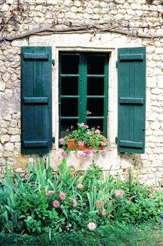 When I move into my french inspired country home (are you listening, universe?) I will most definitely have shutters on the windows. Window Shutters, Window Boxes, Green Shutters, Country Shutters, Old Windows, Windows And Doors, French Windows, Window View, Through The Window