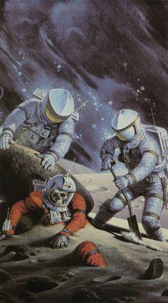 Retro-Futuristic, Astronauts, Science Fiction, Cover by Darrell Sweet for Inherit the Stars, James P. Arte Alien, Arte Sci Fi, Science Fiction Kunst, Art Pulp, Arte Art Deco, Comics Vintage, 70s Sci Fi Art, 80s Sci Fi, Psy Art
