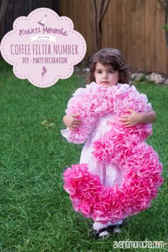 39 Easy DIY Party Decorations - DIY Coffee Filter Number - Quick And Cheap Party Decors, Easy Ideas For DIY Party Decor, Birthday Decorations, Budget Do It Yourself Party Decorations Coffee Filter Crafts, Coffee Filter Flowers, Coffee Crafts, Coffee Filter Wreath, Craft Party, Party Party, Party Games, Party Ideas, 21st Party