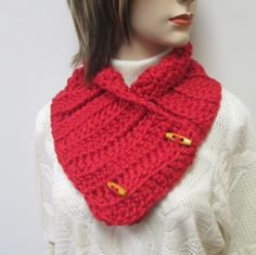 Red Chunky Scarf, Winter Scarves, Gift For Her, Winter Knit Scarves, Crochet Scarves, Winter Chunky Scarves, Button Wrap Scarf, Large Scarf by CeciliaAnnDesigns on Etsy