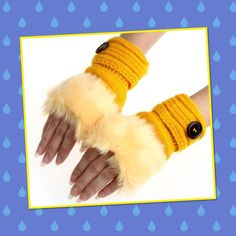 Winter faux rabbit fur wrist fingerless gloves Color yellow warm winter knitting wool and faux rabbit fur wrist fingerless gloves mittens soft and comfortable wear brand new tag on bag price is firm unless you bundle Accessories Gloves & Mittens