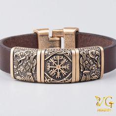 Viking Bracelet of Hugin - Vegvisir - Munin Bracelets For Men, Handmade Bracelets, Handmade Jewelry, Leather Bracelets, Bangles, Viking Art, Viking Runes, Viking Life, Viking Bracelet