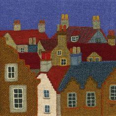 """East Neuk Rooftops"" - Harris Tweed needle felted paintings, giclee prints & greetings cards by Jane Jackson. www.brightseedtextiles.com"