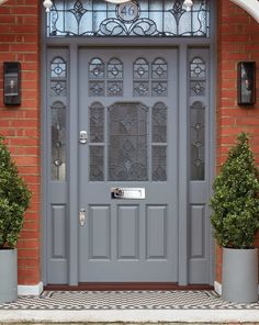 Traditional Victorian Front Door - London Door Company - Huyton-with-Roby - Door Design Victorian Front Doors, Grey Front Doors, Double Front Doors, Front Door Entrance, House Front Door, Painted Front Doors, Entrance Decor, Front Door Colors, Victorian Internal Doors