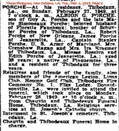 Albion G. Porche Obituary