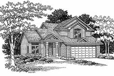 Traditional Style House Plan - 3 Beds 2.5 Baths 1550 Sq/Ft Plan #70-146 Front Elevation - Houseplans.com