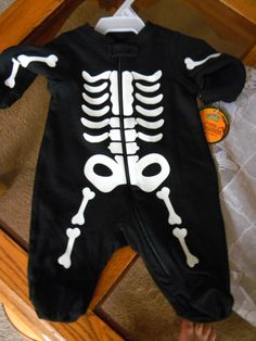 Halloween Infant Boys Size 0-3 Months 1 Piece Skeleton Outfit New with Tags! #2