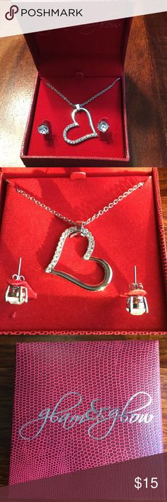 New Glam & Glow Earring and Necklace Set Sparkling Silver Earrings and Heart Shaped Necklace. Never been worn. Glam & Glow Jewelry Necklaces