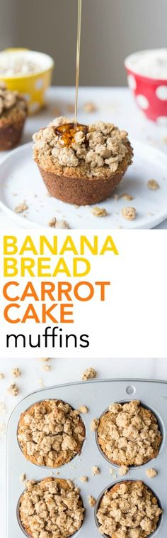 Banana Bread Carrot Cake Muffins: Get in your fruits and veggies in these gluten free, vegan, and healthy muffins! Topped with an addictive streusel!    fooduzzi.com recipe