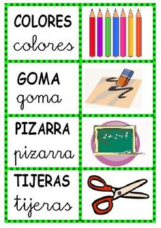 tons of clip art -palabras-dibujo - iliana 2 - Picasa Web Albums Bilingual Kindergarten, Bilingual Classroom, Classroom Labels, Bilingual Education, Spanish Classroom, Kids Education, Spanish Songs, Spanish Lessons, Spanish Teacher