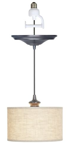 Brushed Bronze Finished with Linen Fabric Instant Pendant Light Conversion Kit - Instant Pendant Lights