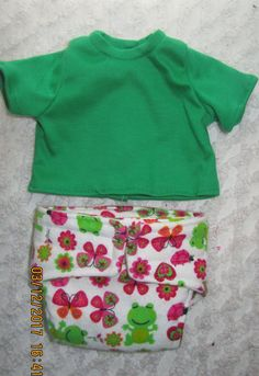 READY to SHIP Shirt and diaper , FROGS, Doll outfit will fit Bitty Baby or any 15 inch doll by JMagaClothing on Etsy
