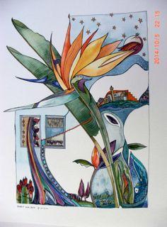 Bird of Paradise Flower-original painting watercolor painting original watercolor painting Original art OOAK Crane Flower Paradise by doritkohstudio. Explore more products on http://doritkohstudio.etsy.com