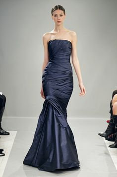 Bridesmaids' dress for a navy blue wedding color scheme from Monique Lhuillier Bridesmaids, Fall 2013