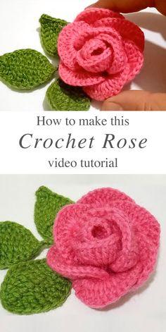 Learn Making This Adorable Crochet Rose CrochetBeja Crochet Leaves, Crochet Motif, Crochet Flowers, Crochet Patterns, Knitting Patterns, Easy Crochet Flower, Free Crochet Rose Pattern, Knit Crochet, Crochet Baby