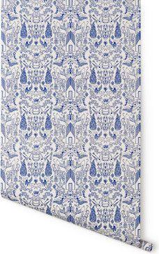 Nethercote Wallpaper, White & Blue - contemporary - wallpaper - Hygge & West