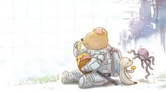 Knights of Sidonia, Winnie The Pooh style! Character Concept, Character Design, Knights Of Sidonia, Cool Drawings, Dungeons And Dragons, Winnie The Pooh, Illustration Art, Geek Stuff, Manga