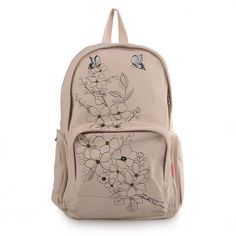 Newly Apricot Fresh DIY Hand-drawn Frolal Canvas Leisure Backpacks for Ladies(Free Shipping)