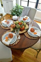 35 Amazing Fall Dining Table Decor Ideas For Your Dining Room Decor Fall Dining Table, Round Dining Table Sets, Dining Room, Round Table Settings, Thanksgiving Table Settings, Thanksgiving Tablescapes, Thanksgiving Games, Home Decoracion, Decoration Table