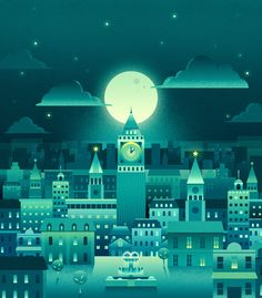 The llustration of city(green) on Behance