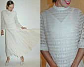 vintage 1960s LACE and Pleated Skirt White Gown / Dress