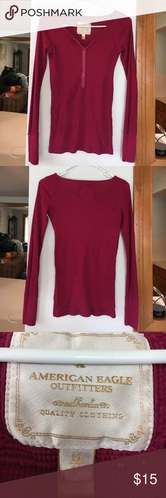 American Eagle long sleeve Waffle knit long sleeve shirt. Maroon colored American Eagle Outfitters Tops Tees - Long Sleeve